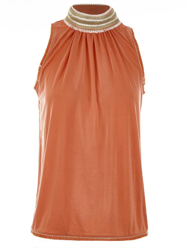 Oranje roze dames top met hoge hals Gustav - 26723