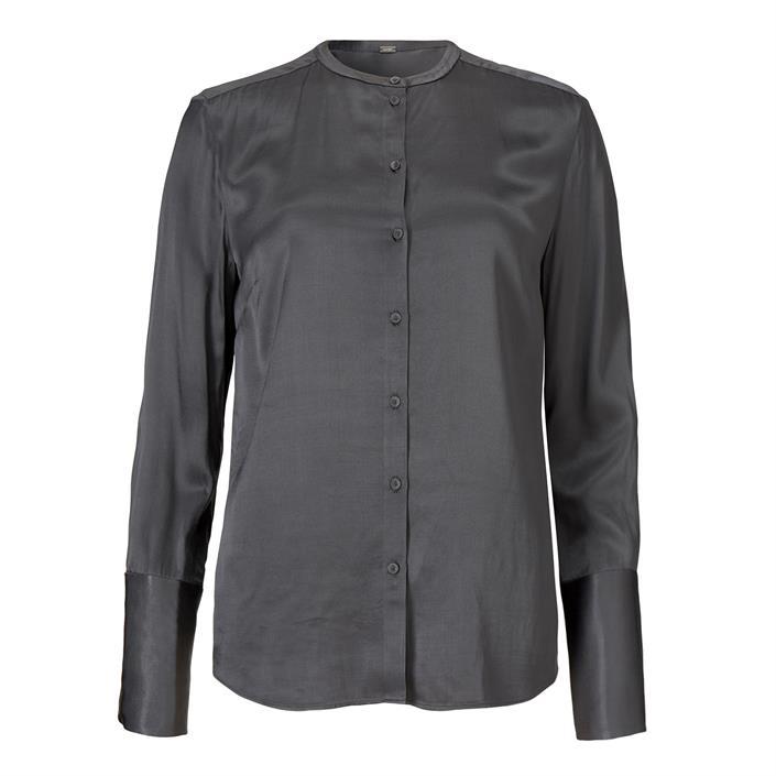 Grijze dames blouse zonder kraag Gustav - 28601