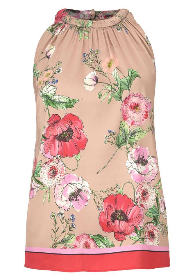 Roze dames top met bloemenprint Gustav - 7240-0-4863