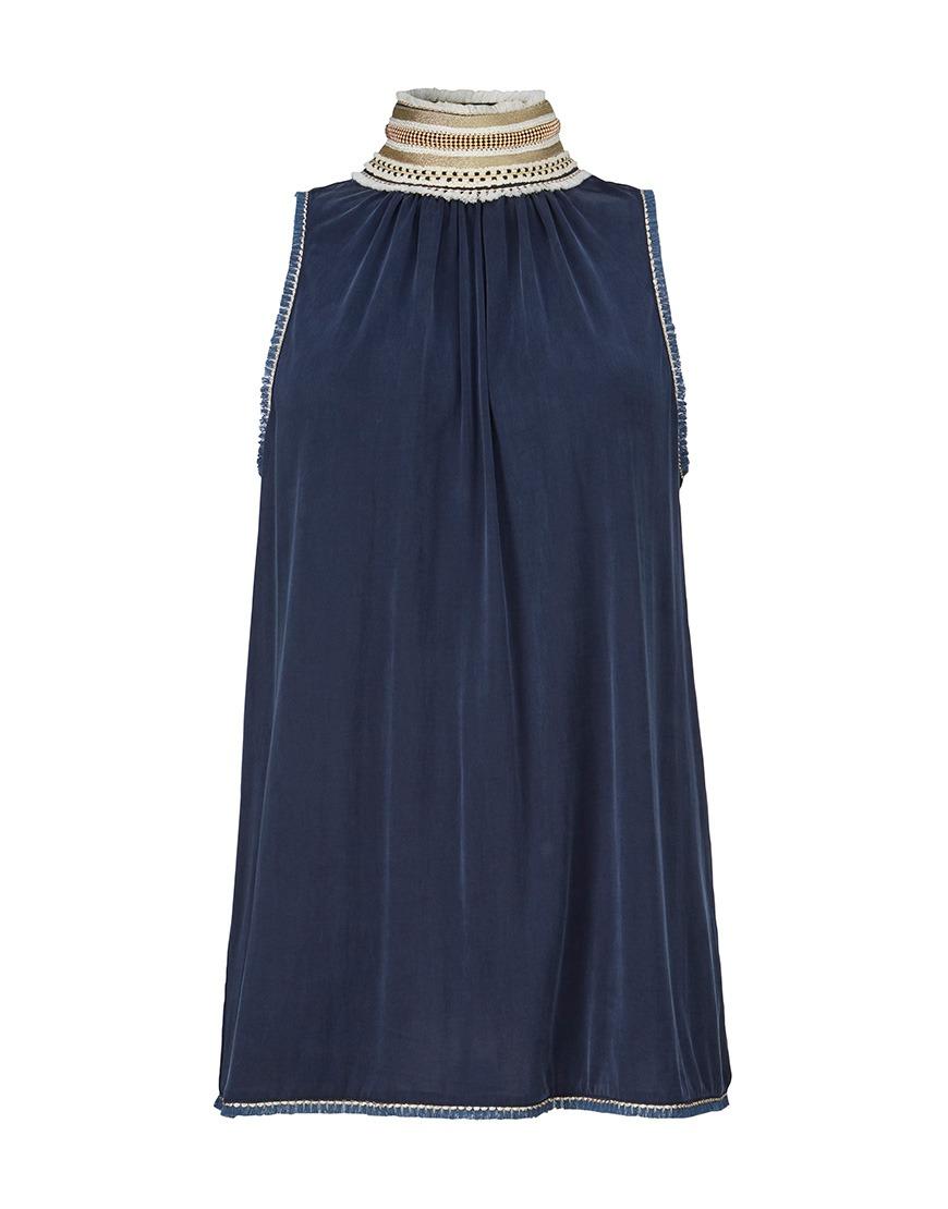 Donkerblauwe dames top met hoge gedetailleerde hals Gustav - 26723/11112