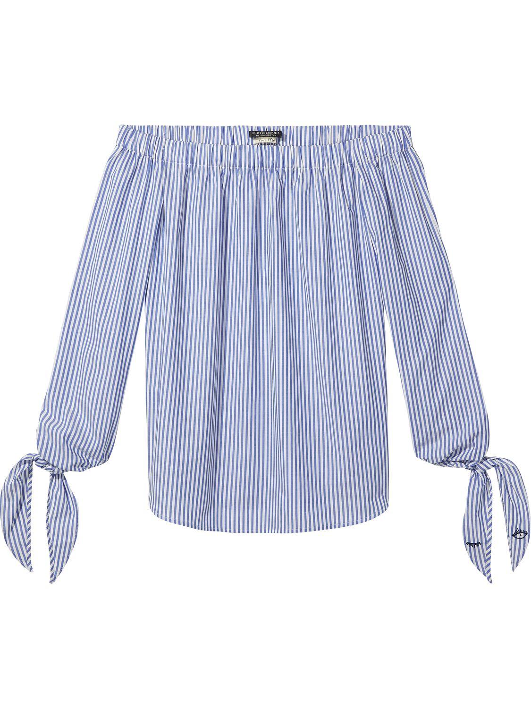 Blauw wit gestreepte off-shoulder dames blouse Maison Scotch - 136777