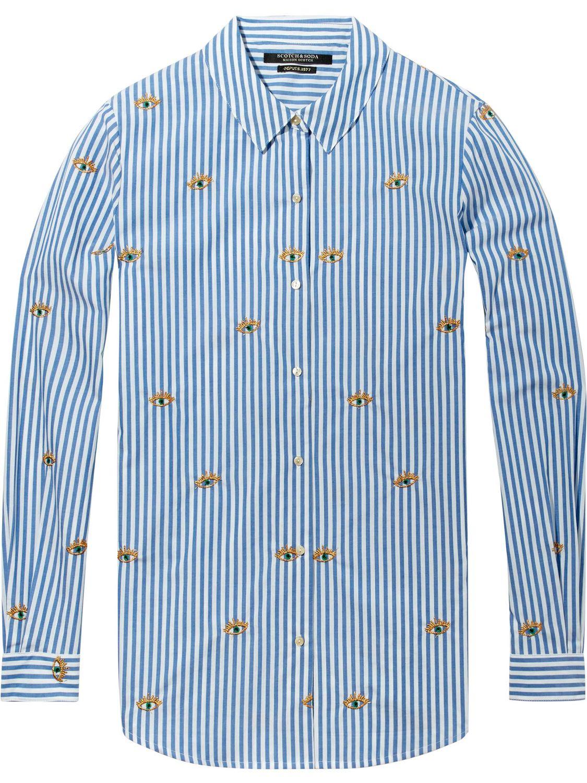 Blauw wit gestreepte dames blouse Maison scotch - 132690