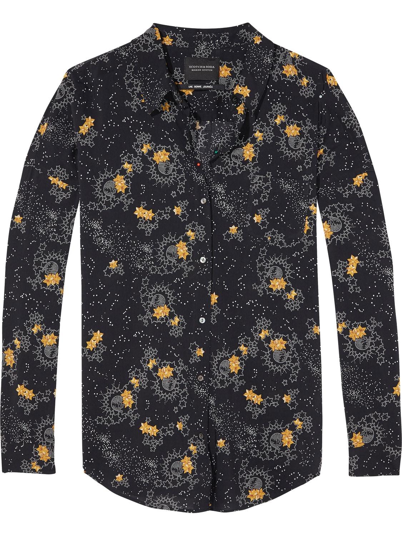Zwart geprinte dames blouse Maison Scotch - 140555