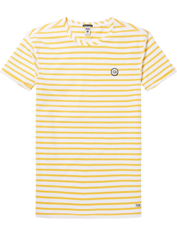 Wit/geel gestreept heren shirt Scotch & Soda - 144238
