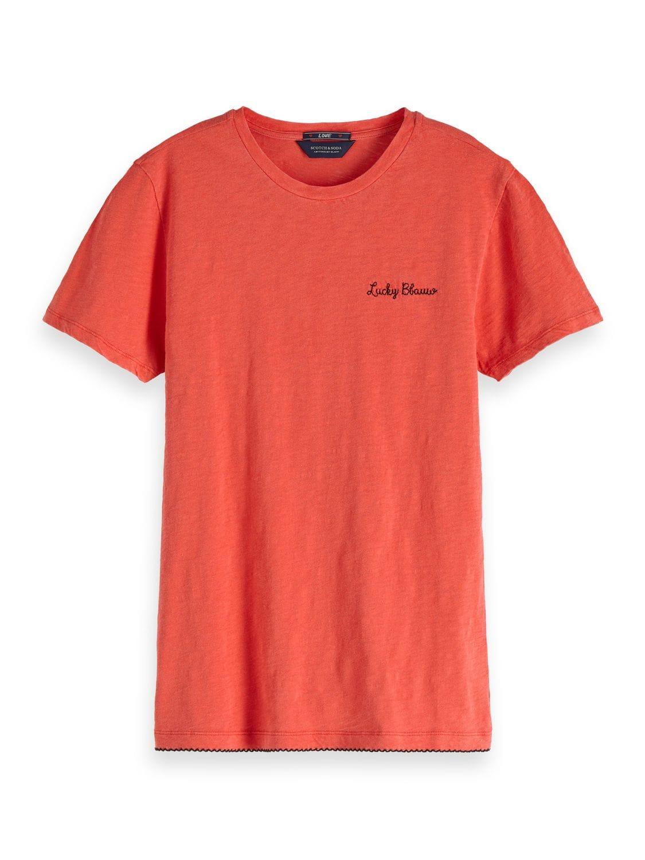 Koraal kleurig dames t-shirt met geborduurde tekst - 147579