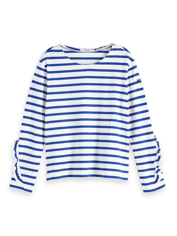 Blauw/wit gestreept dames T-shirt met ruches - 147766