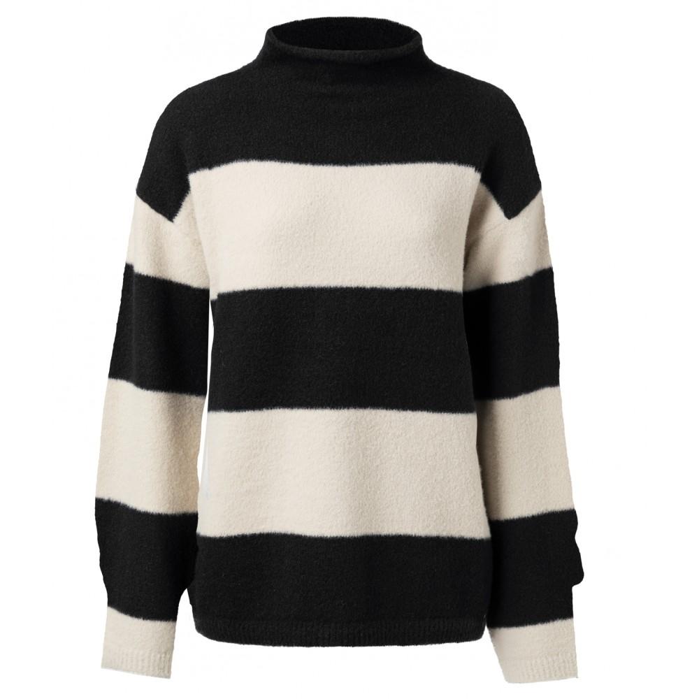 Zwart/witte sweater met hoge hals YAYA - 1000202-924 - 000011