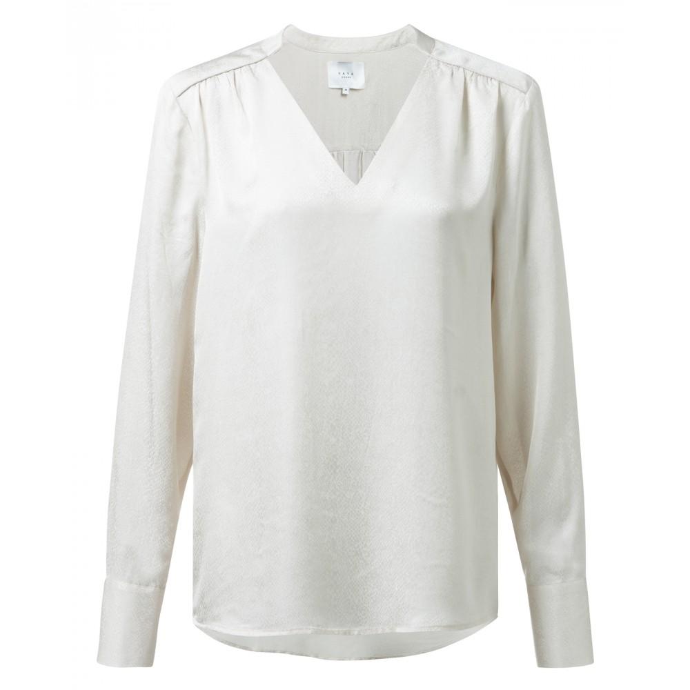 Lichte dames blouse met lange mouwen en V-hals - 1901172-922, 30002