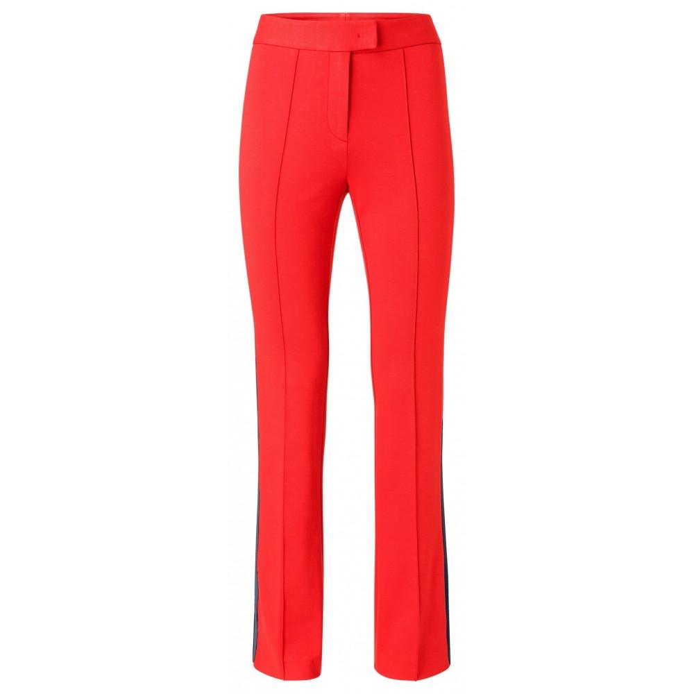 Rode dames broek met uitlopende pijpen en zijstreep YAYA - 120941-912