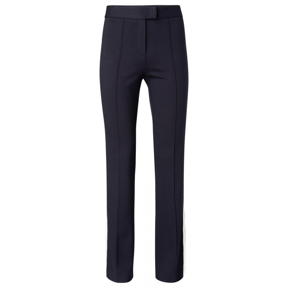 Donker blauwe jersey broek met uitlopende pijpen en zijstreep YAYA - 120941-911