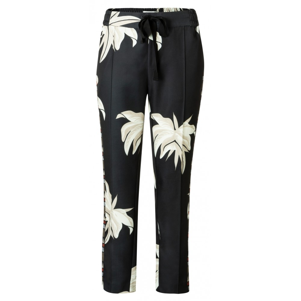Zwarte damesbroek met jungleprint YAYA - 120147-915