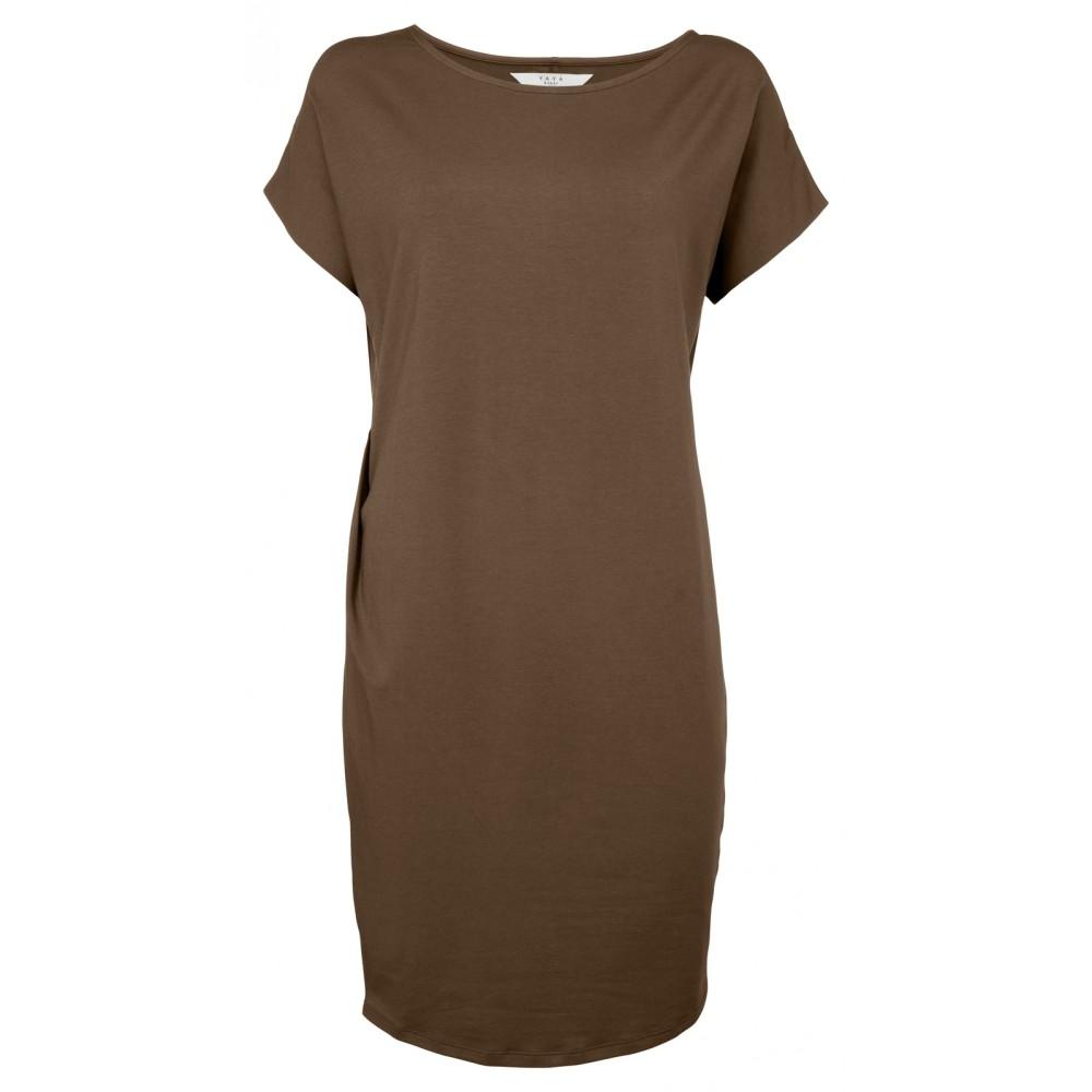 Donkerbruine dames jurk met korte mouwen YAYA - 1809191-920