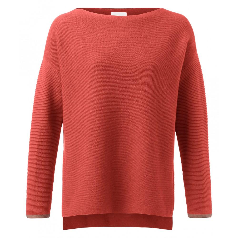 Oranje sweater met geribbelde mouwen YAYA - 100030-922 - 99196