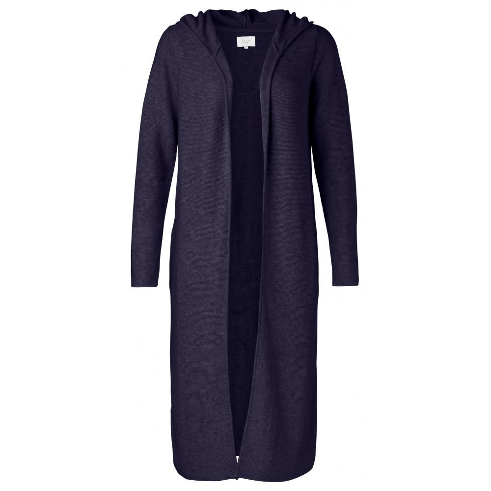 Donker blauw lang dames vest met capuchon YAYA - 101037-912