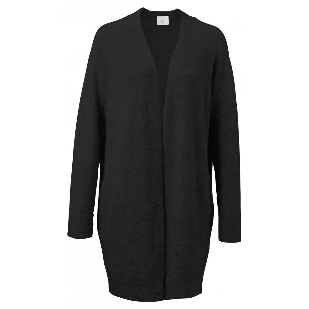 Zwart lang dames vest van wolmix - 101020-824
