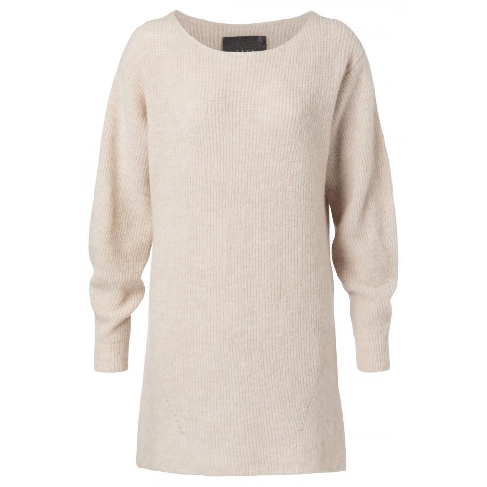 Beige lange dames trui met boothals YAYA - 1000206-924 - 304012