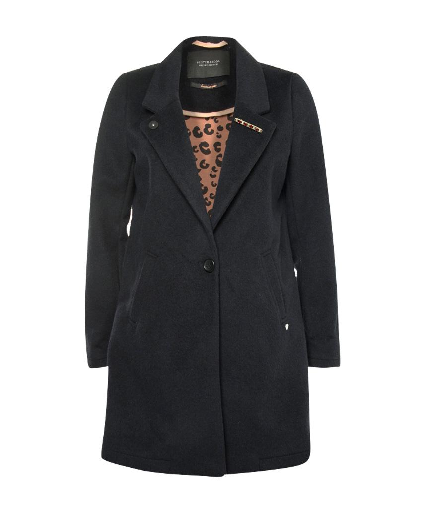 Zwarte lange dames jas Maison Scotch - 145052