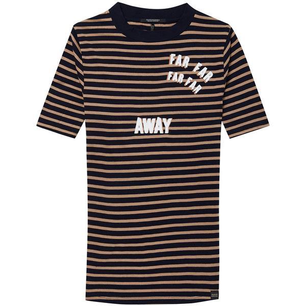 Blauw/bruin gestreept dames t-shirt Maison Scotch