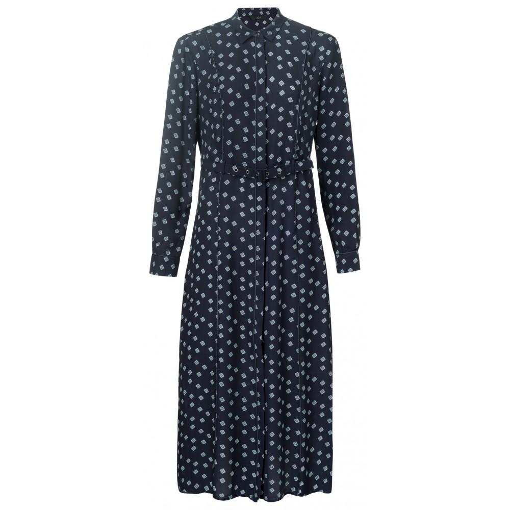 Donkerblauwe dames maxi jurk met print YAYA - 180166-912