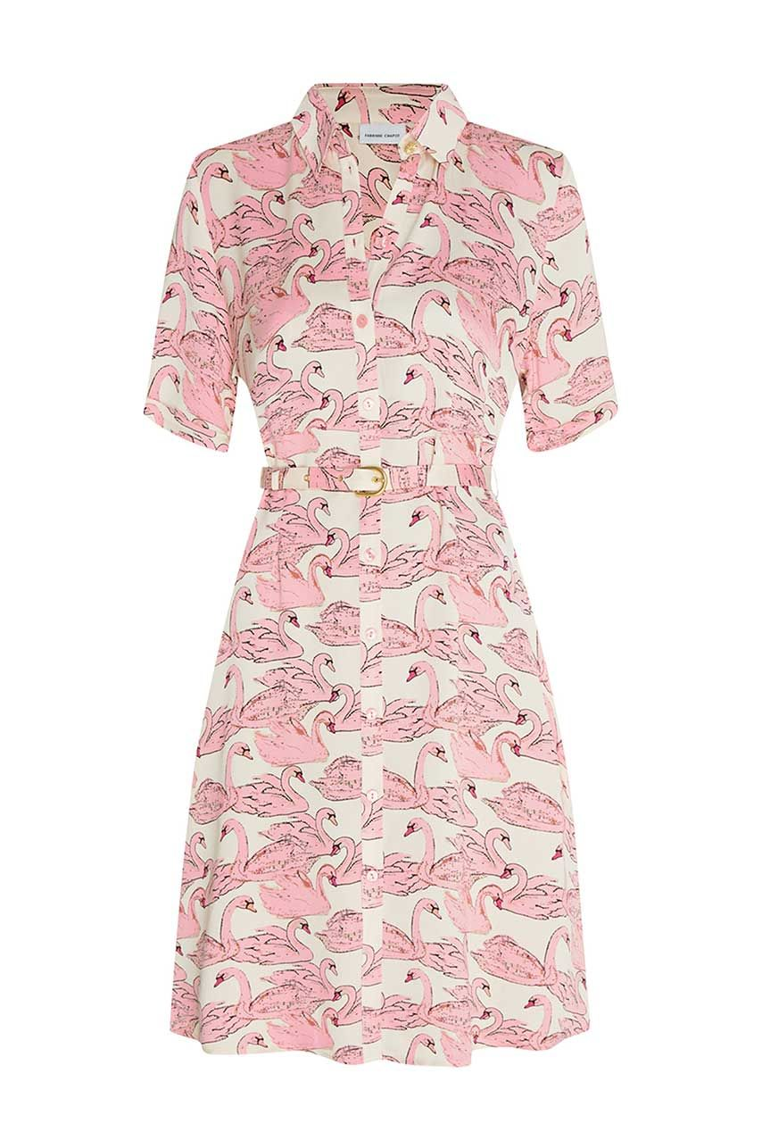 roze geprinte jurk - fabienne chapot - mila dress - swan w hite/trip