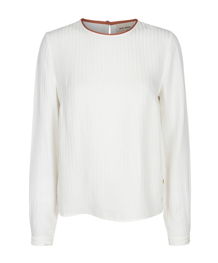 Witte dames blouse met een roestbruine bies- 127360-125