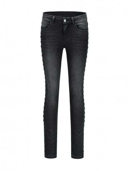 Zwarte dames jeans met zilveren details - N2-314 1804 8101