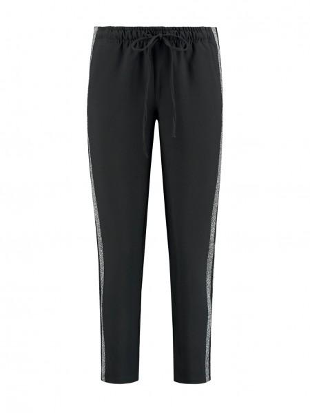 Zwarte dames broek met zilveren strepen Nikkie - N2-870 1901 9000