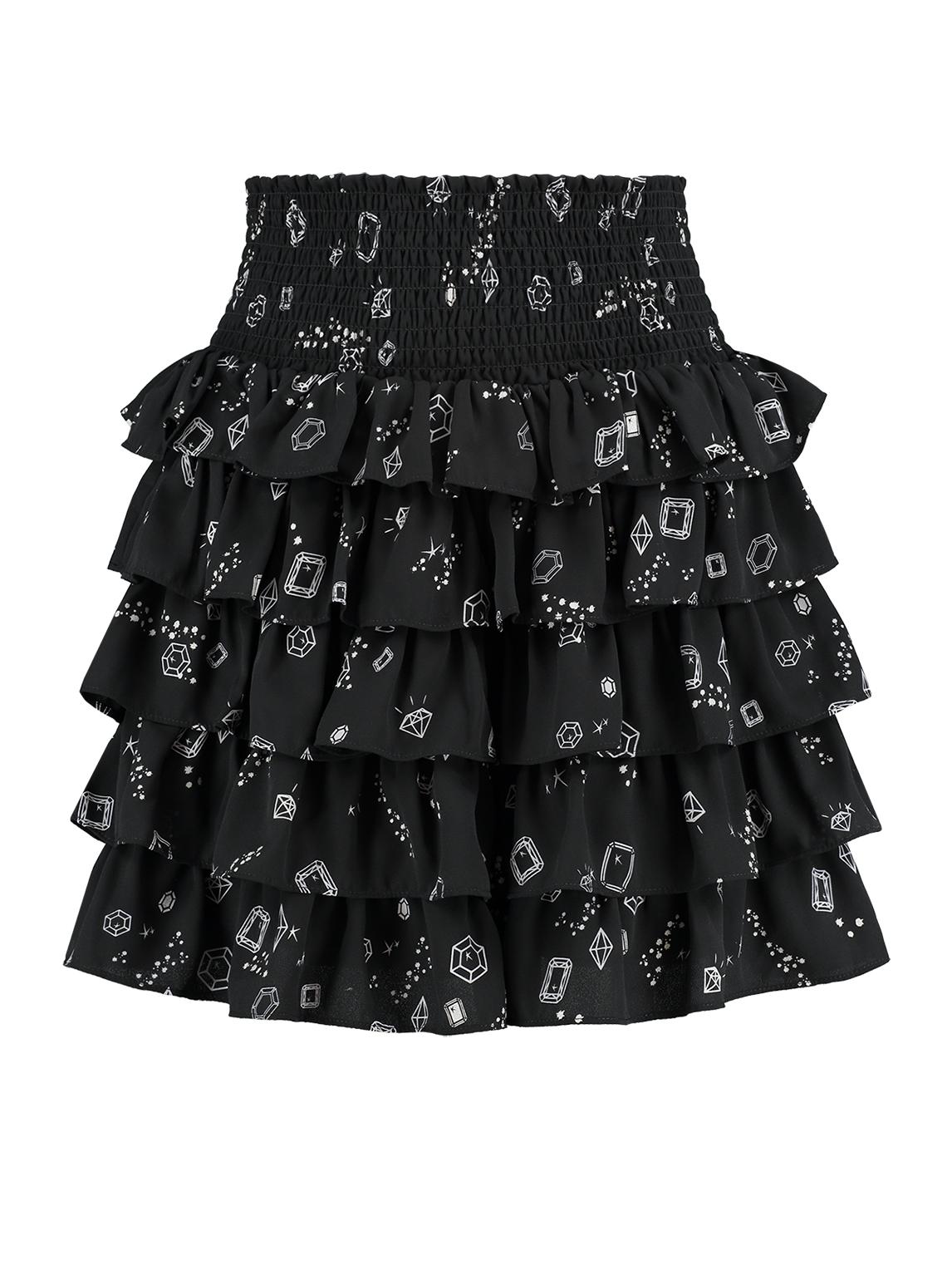 Zwarte dames rok met allover print Nikkie Lilo Skirt - N3-761 1901 9000