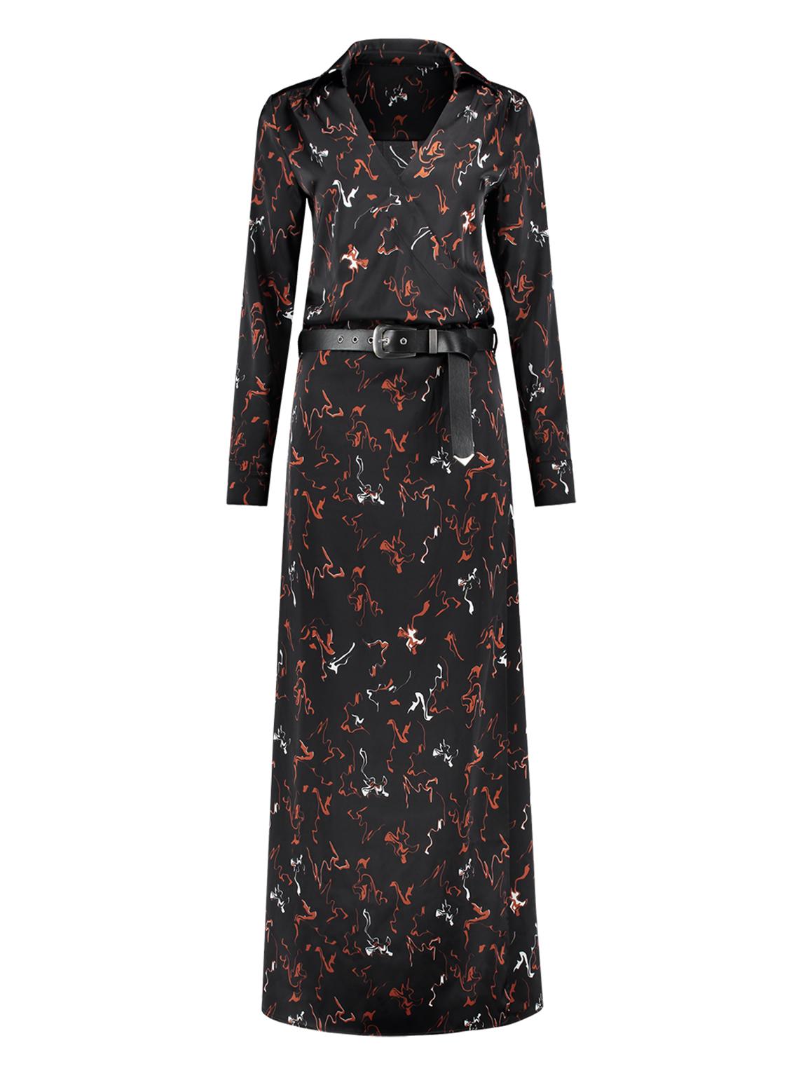 1f565de7cbf Zwarte dames jurk met all-over print Nikkie - N5-956 1902 9000