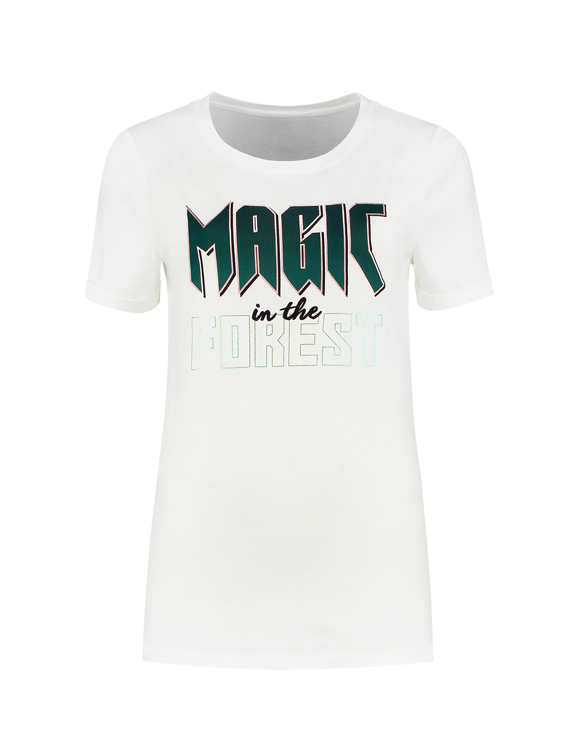 Wit dames T-shirt met opdruk Nikkie - Magic in the forrest T-shirt - N6-619 1905 2008