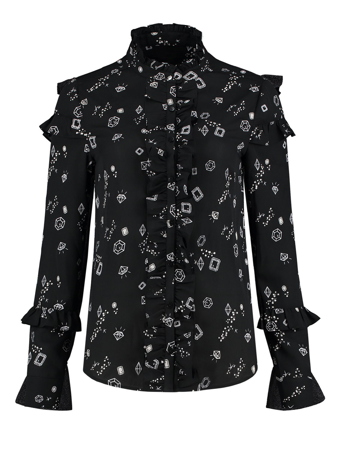 Zwarte dames blouse met all-over diamanten print Nikkie - N6-760 1901 9000