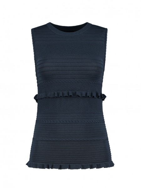Donker blauwe dames top Nikkie - Janel Top - N7-404 1904 7800