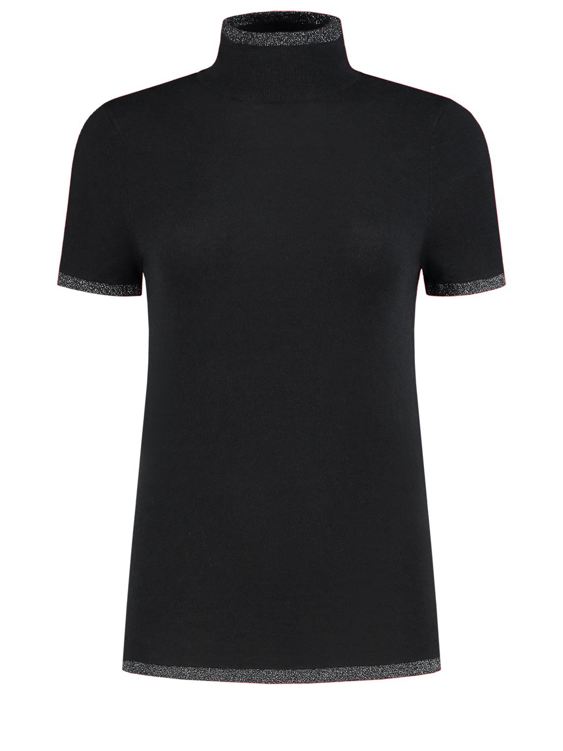 Zwarte dames top met korte mouwen en col Nikkie Jessa Turtle Neck Top - N7-784 1901 9000