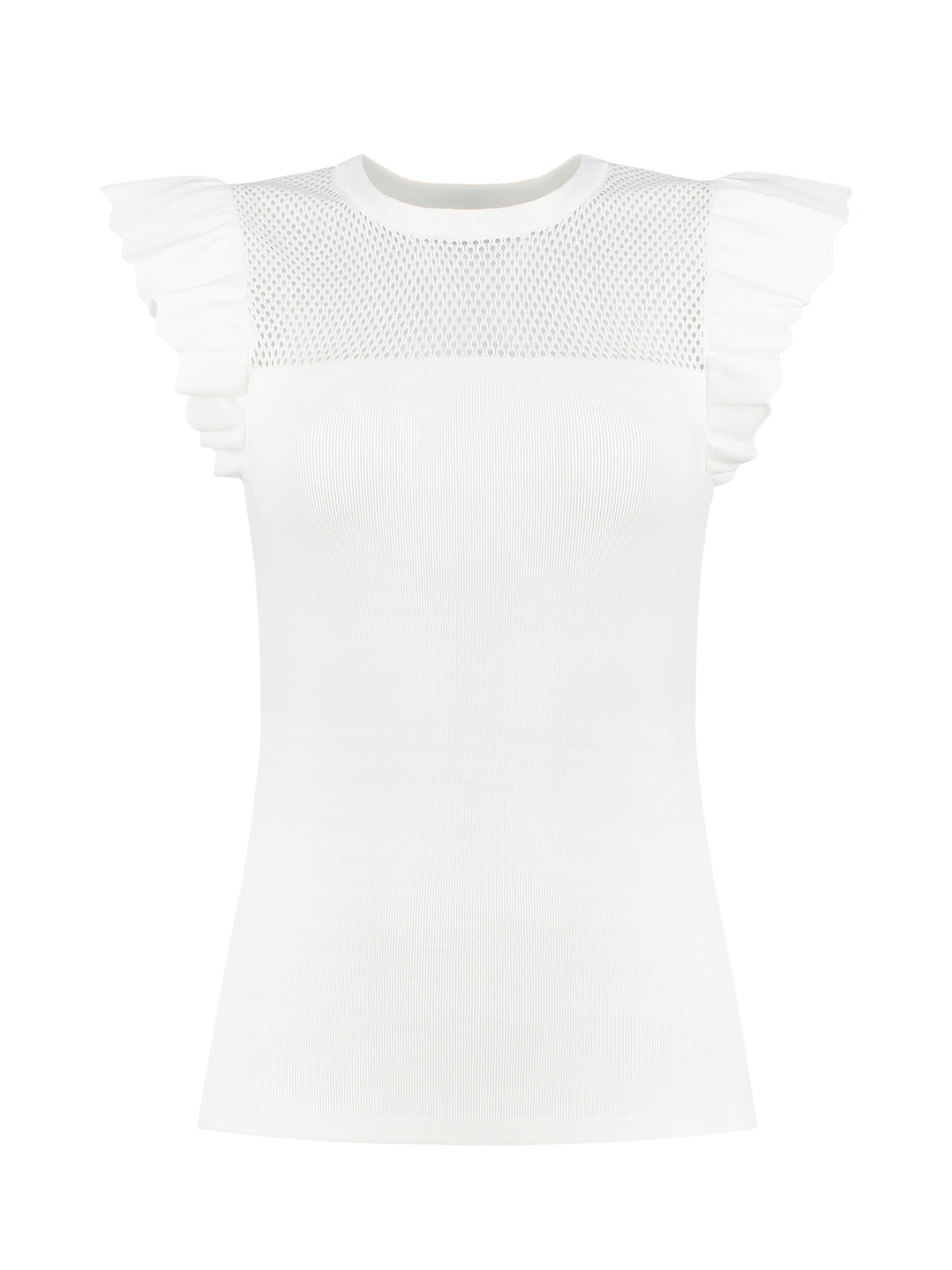 Wit dames shirt met ruches Nikkie - N7-960 1902 2000