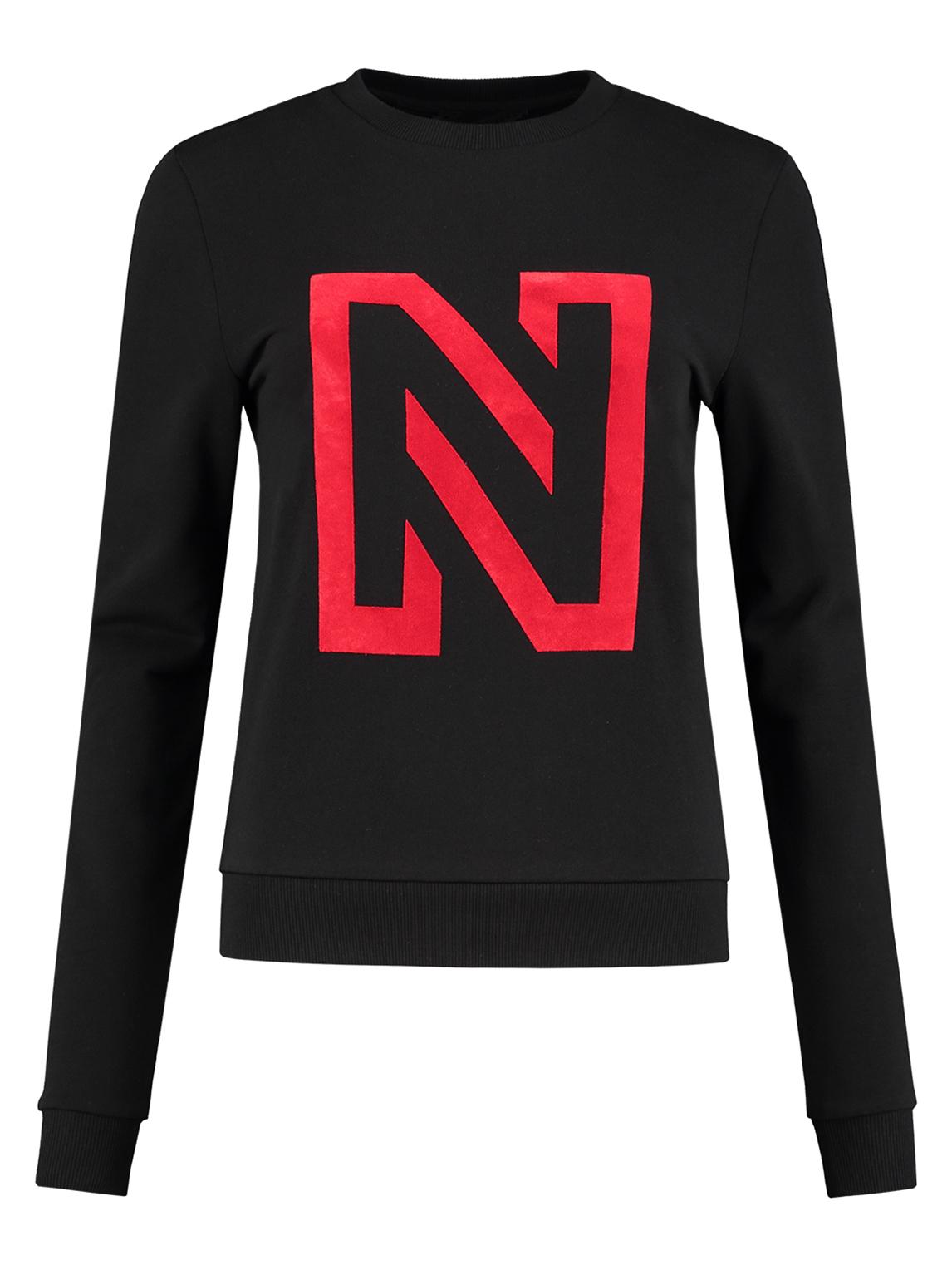 Zwarte dames trui met letter N Nikkie N Logo Sweater - N8-541 1805 9000