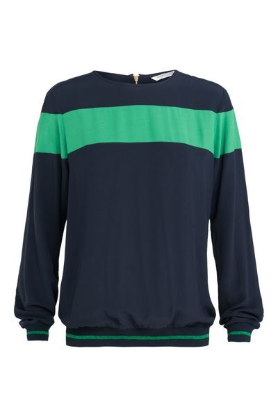 Donkerblauw met groene dames blouse Summum - 2S2104-10644