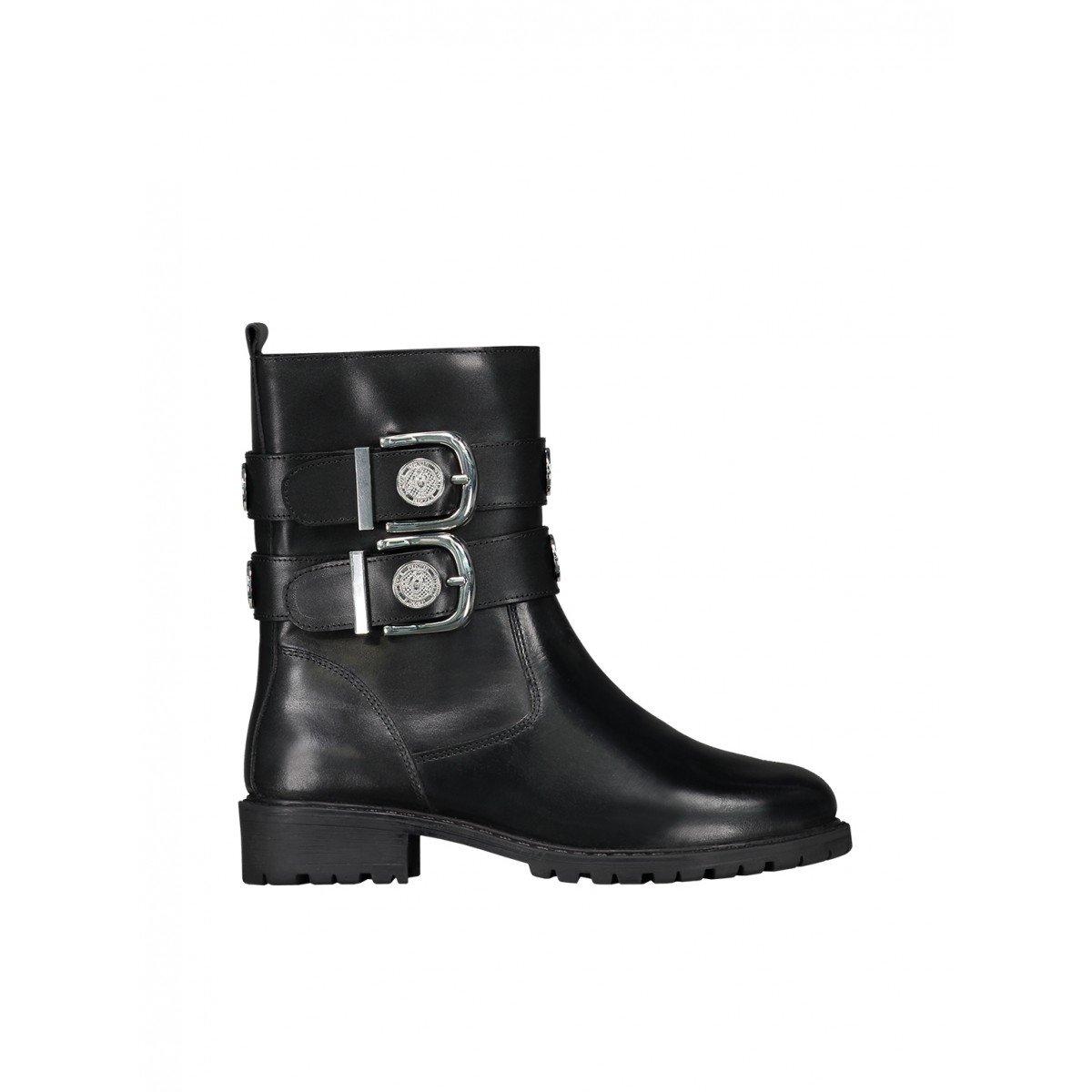 Zwarte dames laars Nikkie Combat Buckle Boots - N9-866 1901 9075