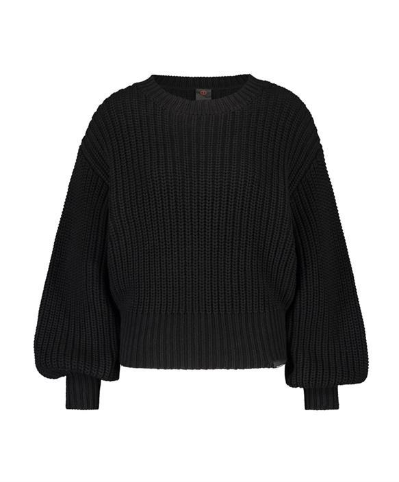 Zwarte grof gehaakte dames trui Penn & Ink - W19B053