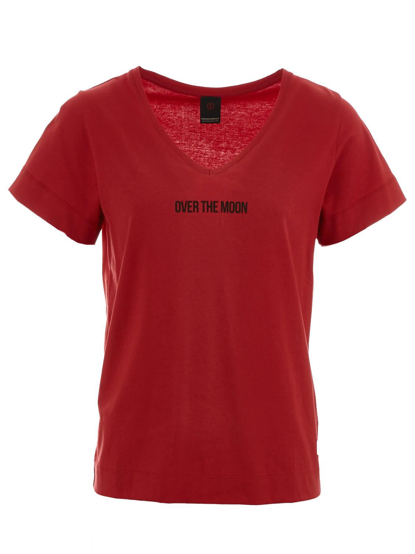 Rood dames T-shirt met V-hals Penn & Ink - W19F592