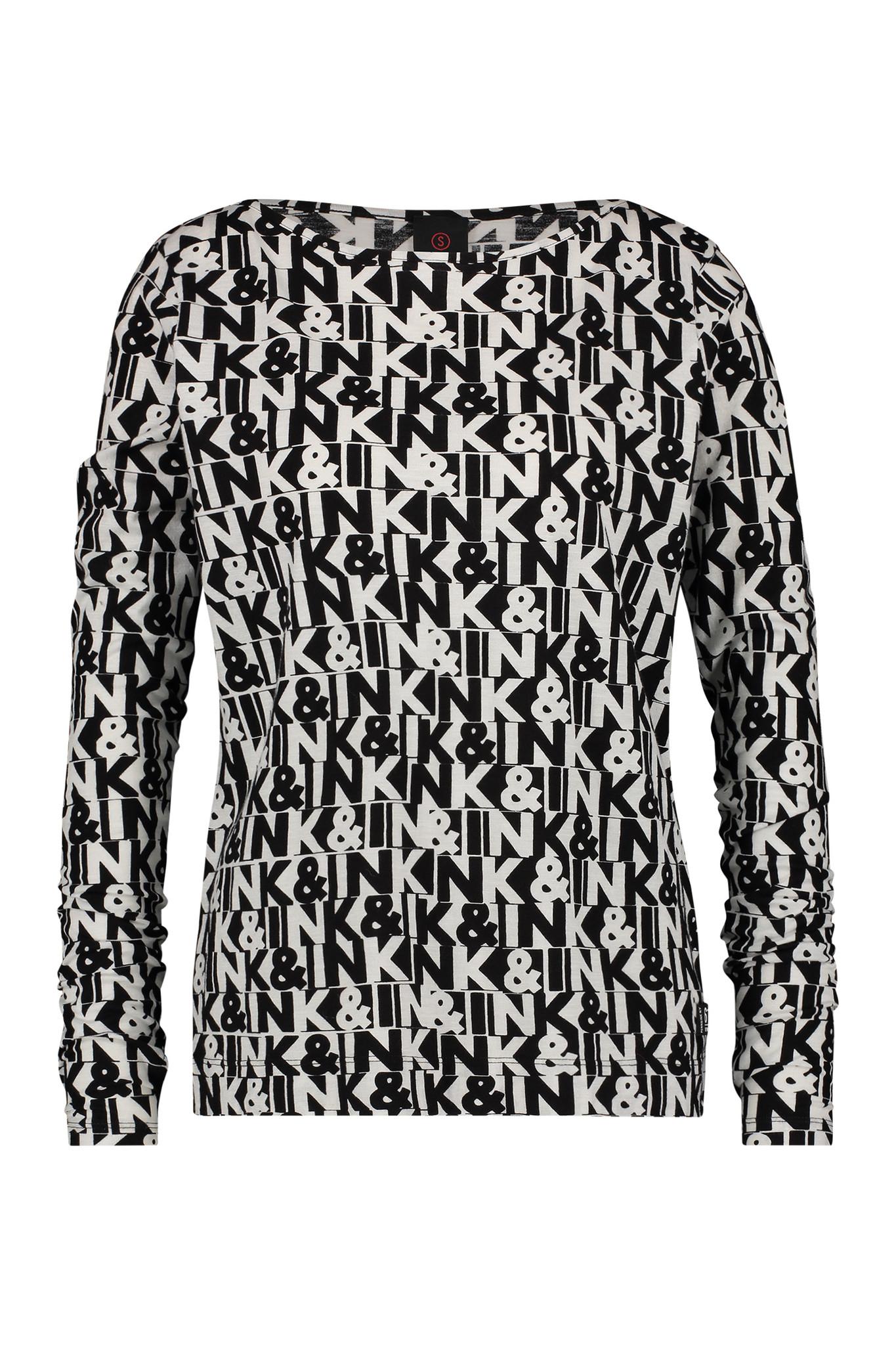 Zwart/wit lange mouw dames shirt Penn & Ink - W19F649