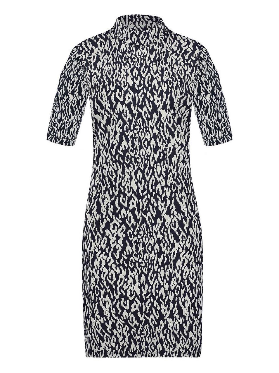 Zwart/wit geprinte dames jurk met col Penn & Ink - W19N572DM