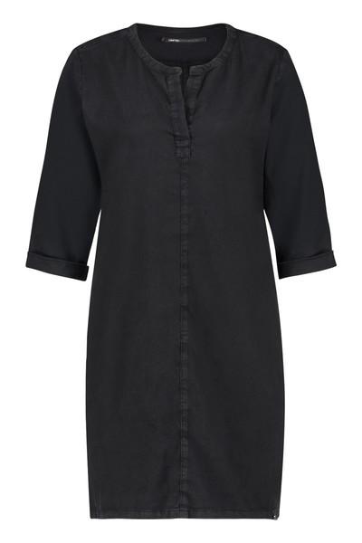 Zwarte linnen dames jurk met V-hals - S19W098ALTD