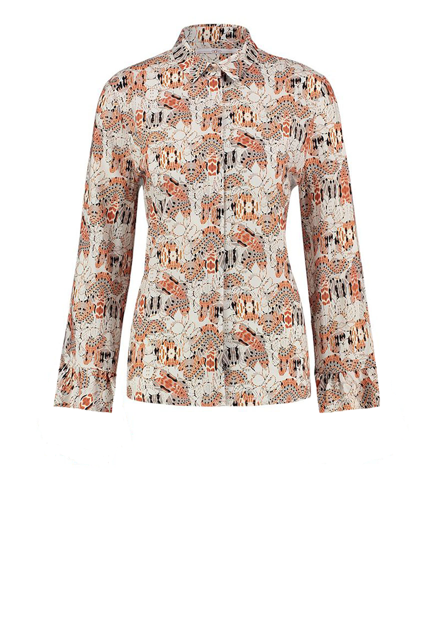 Beige geprinte dames blouse - Aaiko - Sand
