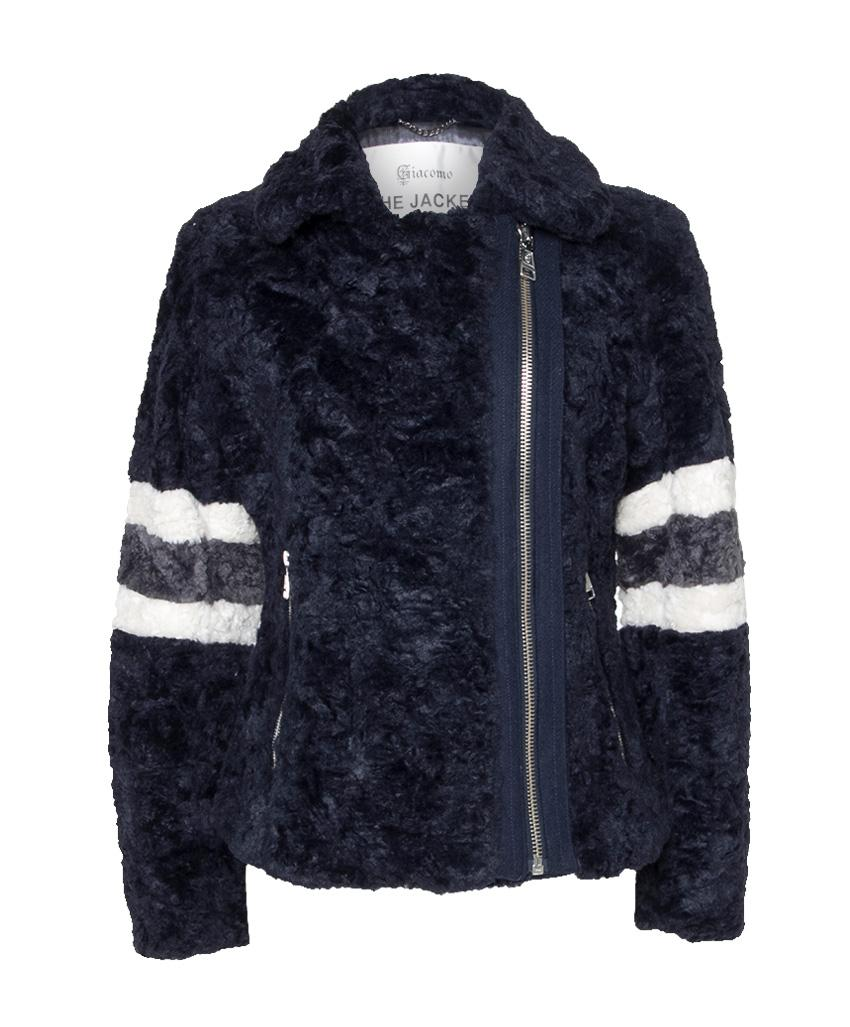 Blauwe korte fake fur dames jas Giacomo - 6512859