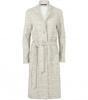 crèmekleurige gemêleerde lange jas model: 1s738-2926a in dessin: 821