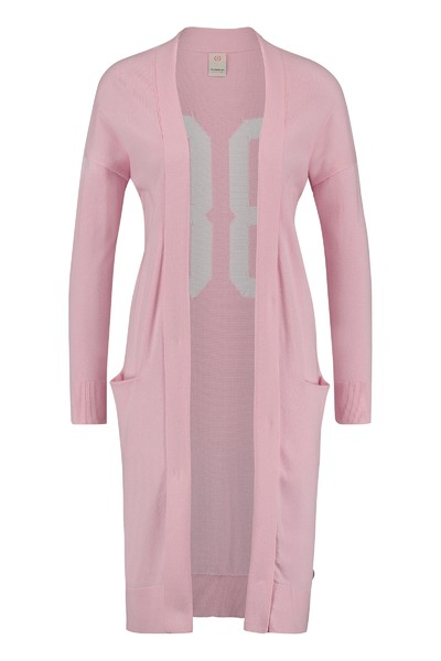 Lichtroze lang dames vest met wit cijfer detail achterkant Penn & Ink - S18C015