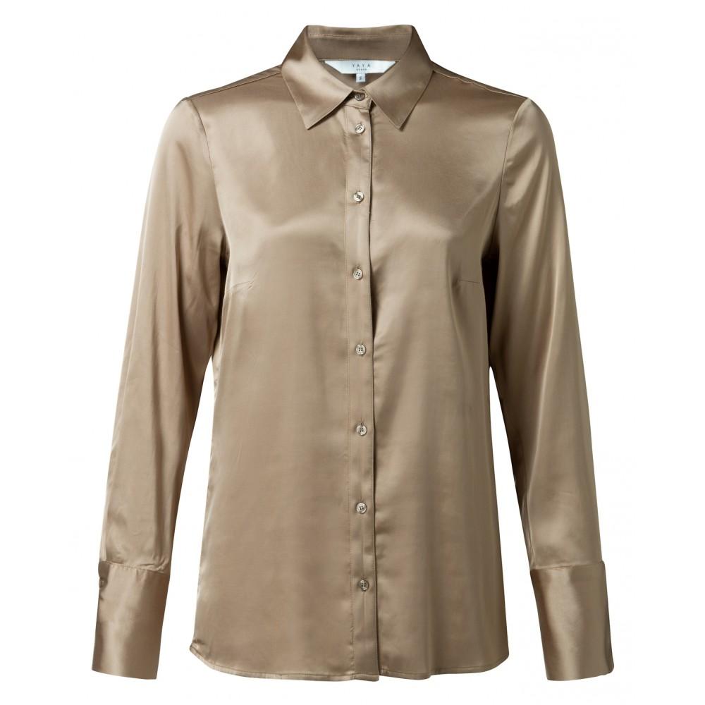 Roestkleurige satijnen dames blouse YAYA 110105-922, 71320