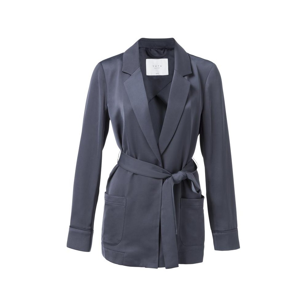 Blauwe dames satijne overslag blazer YAYA - 150100-821