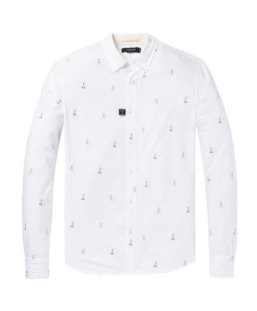 Witte heren blouse met kleine schaartjes - 145393