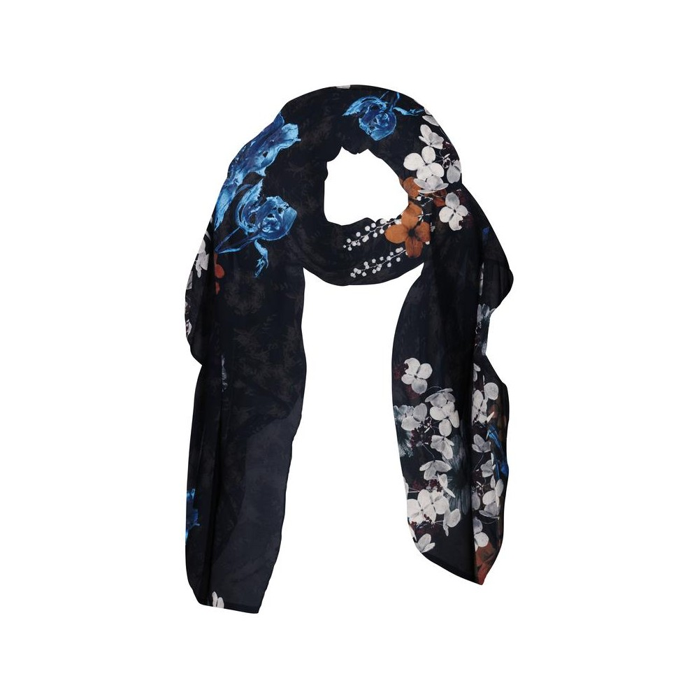 Zwarte dames sjaal met all over bloemenprint - 130118-824